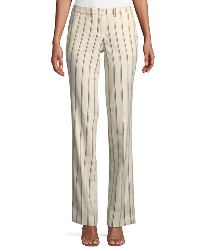 Fara Striped Straight-Leg Pants