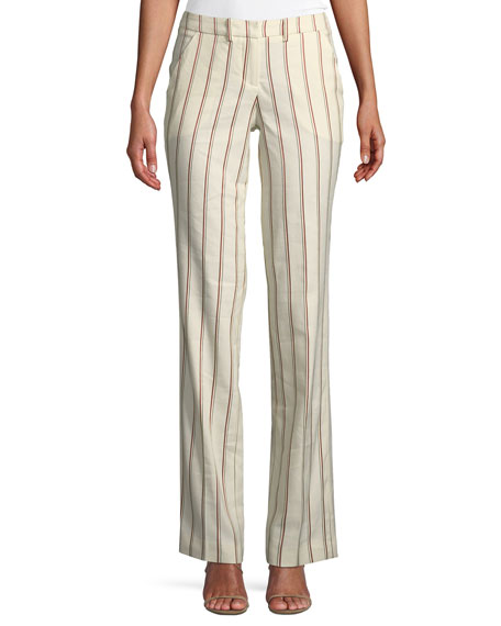 BA&SH Fara Striped Straight-Leg Pants in Multi