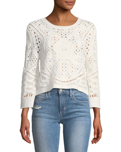 Lua Long-Sleeve Knit Crop Top