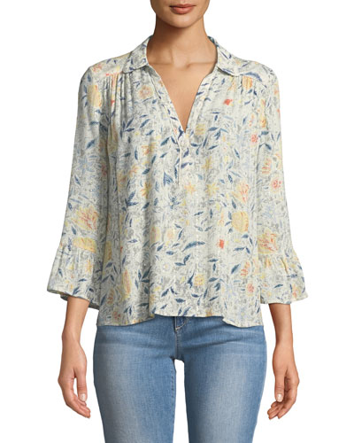 Isykde Floral-Print V-Neck Top