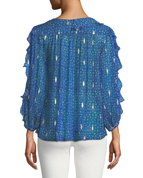 Masha Silk 3/4-Sleeve Ruffle Top