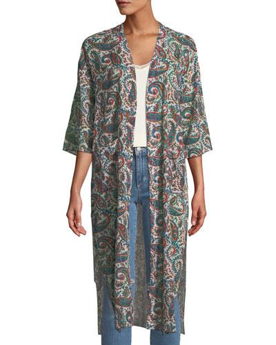 Mene Open-Front Printed Kimono Jacket