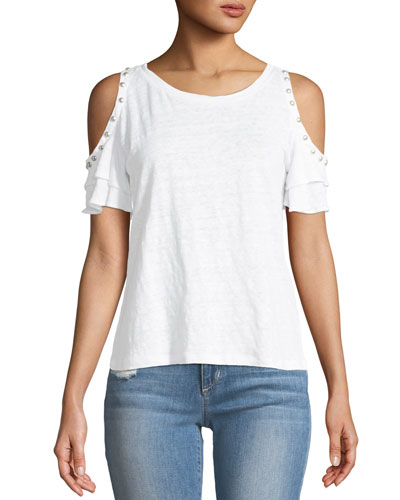 Luna Pearls Cold-Shoulder Linen Top