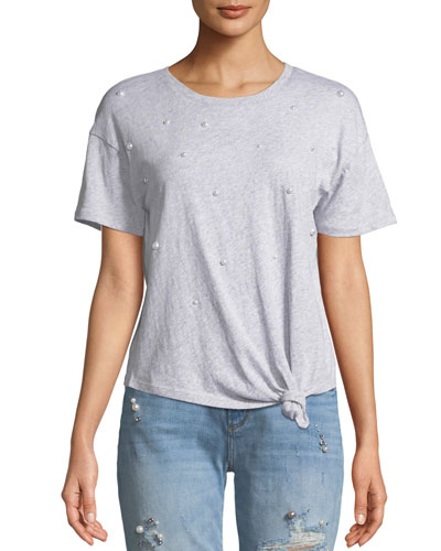 Ava Pearls Knot-Front Top
