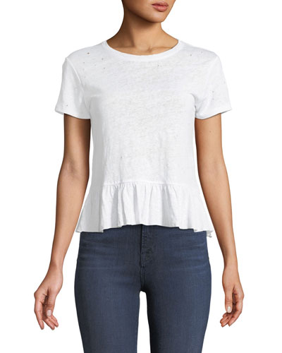 Athena Short-Sleeve Linen Ruffle Top