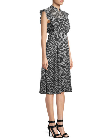 Saffra Sleeveless Printed Ruffle Dress