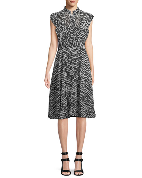 Club Monaco Saffra Sleeveless Printed Ruffle Dress