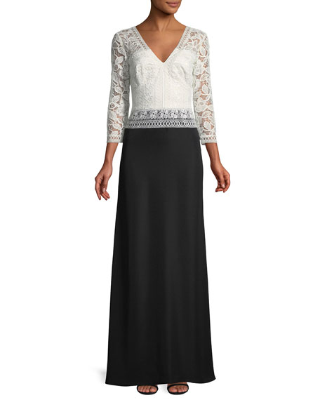 Lace & Crepe 3/4-Sleeve Gown