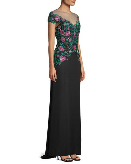 Holly Floral Embroidered Illusion Gown