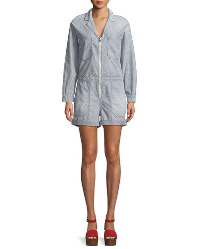 Rochelle Zip-Front Long-Sleeve Striped Chambray Romper