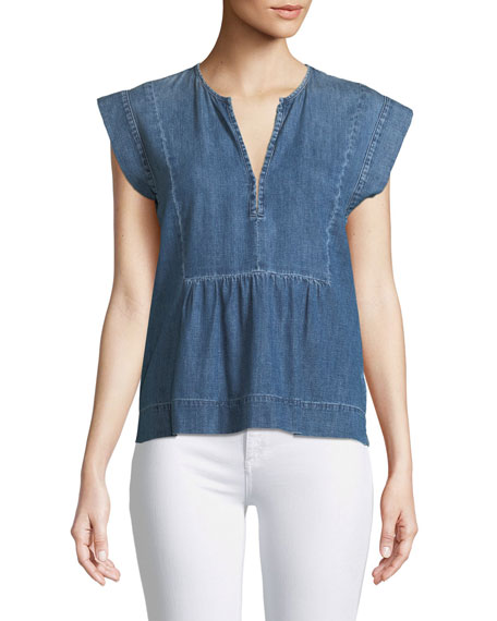 AG Adriano Goldschmied Trista V-Neck Sleeveless Denim Top