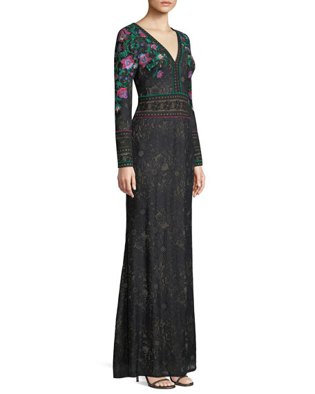 Floral Embroidered Lace Long-Sleeve Gown
