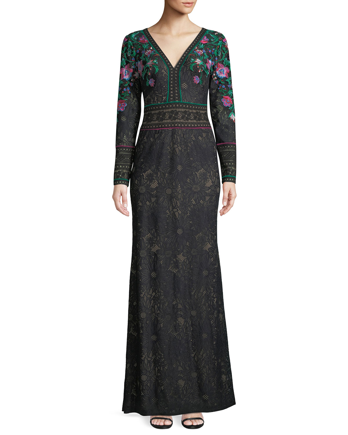 Tadashi Shoji Floral Embroidered Lace Long-Sleeve Gown | Neiman Marcus