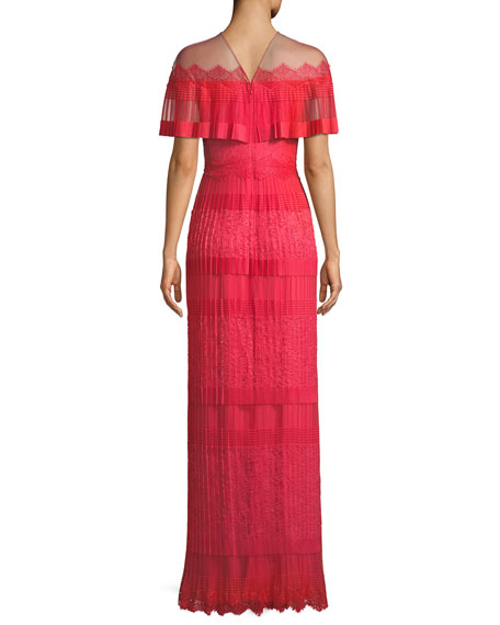 Tristan Pleated Illusion Lace Gown