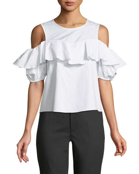 Club Monaco Pallatona Cold-Shoulder Ruffle Top