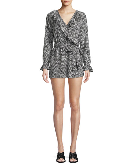 Club Monaco Cedrika Printed Long-Sleeve Ruffle Romper