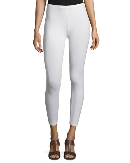 Joan Vass Stretch Jersey Ankle Leggings, White