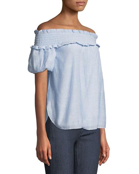 Torcasta Off-the-Shoulder Shirred Blouse