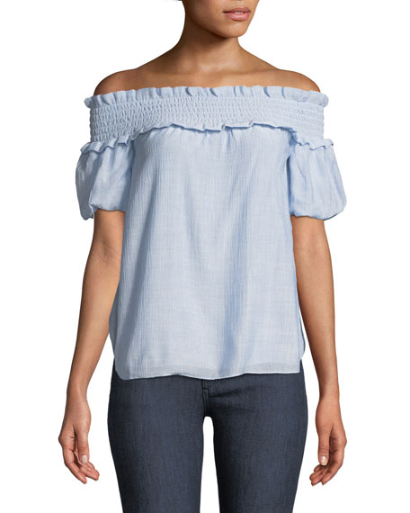 Club Monaco Torcasta Off-the-Shoulder Shirred Blouse