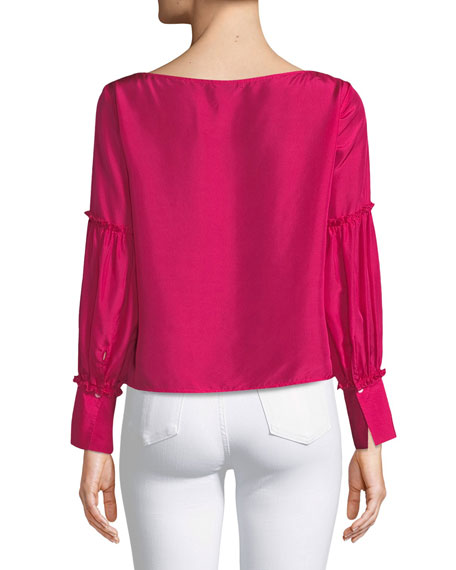 Morites Silk Blouson-Sleeve Top