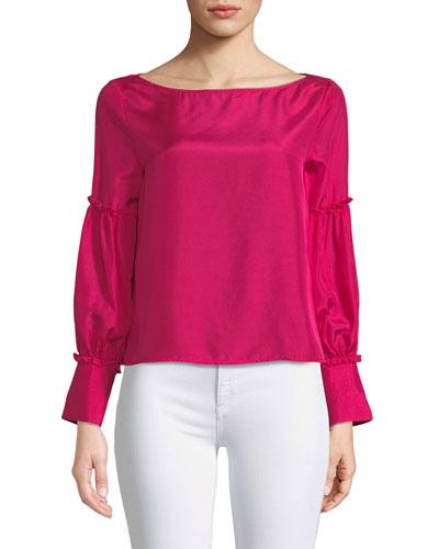 Morites Silk Blouson-Sleeve Top