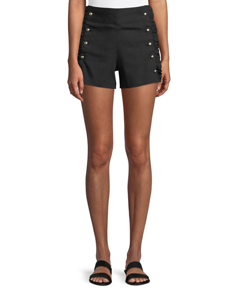 Club Monaco Hajari Sailor-Button Frill Shorts
