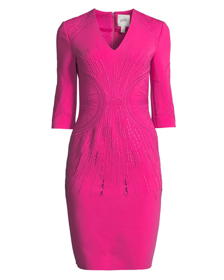 Embroidered V-Neck Sheath Dress