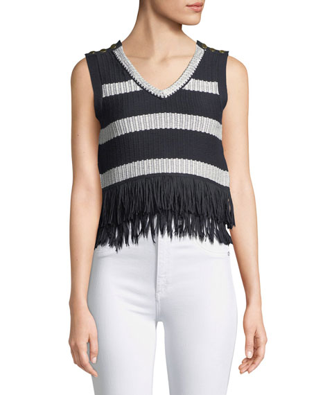 Club Monaco Olivina Sleeveless Fringe Sweater