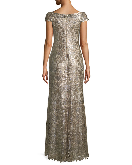 Harford Metallic Sequin V-Neck Gown
