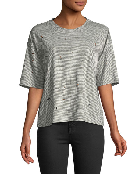 Distressed Linen Short-Sleeve Crewneck Tee