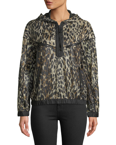 Hooded Zip-Front Leopard-Print Jacket