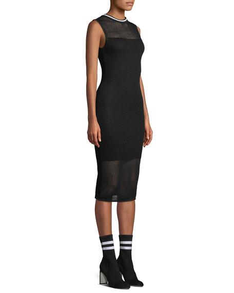 Mesh Sleeveless Body-Con Midi Dress