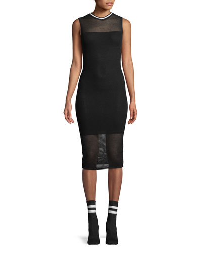 Mesh Sleeveless Body-Con Midi Dress
