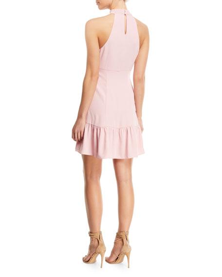 Rory Mock-Neck Sleeveless Mini Dress