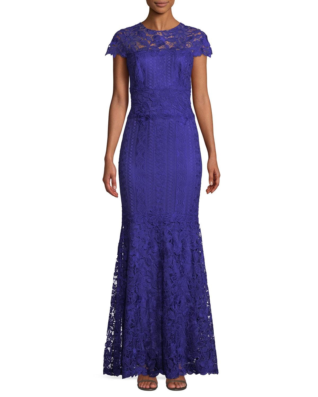Tadashi Shoji Allison Embroidered Lace Trumpet Gown | Neiman Marcus