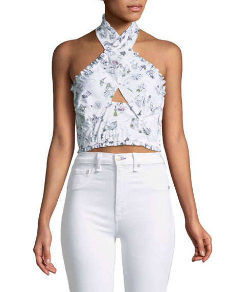 Likely Norma Printed Halter Crop Top