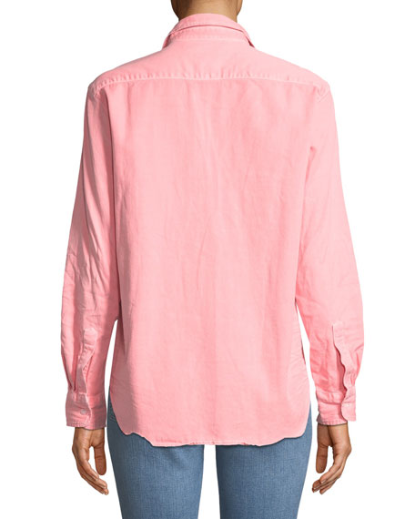 Eileen Long-Sleeve Button-Down Cotton Shirt