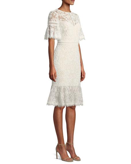 Lace-Sleeve Ruffle-Hem Dress