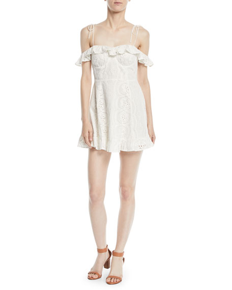 Lovers And Friends Kate Off-the-Shoulder Ruffle Eyelet Dress