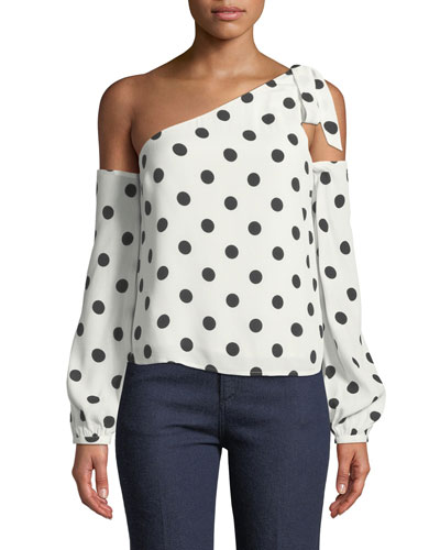 Rachel Polka-Dot One-Shoulder Top