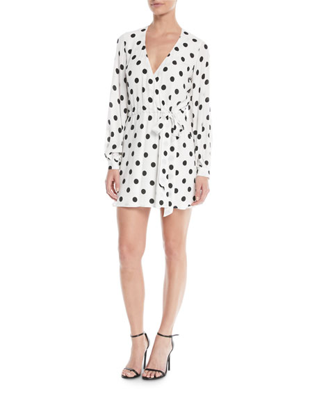Lovers And Friends Maggie Polka-Dot Long-Sleeve Wrap Dress