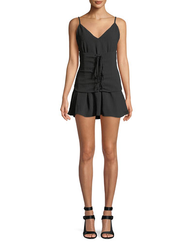 Pax Corset-Waist Sleeveless Mini Dress
