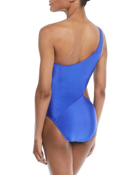 One-Shoulder Cutout One-Piece Swimsuit