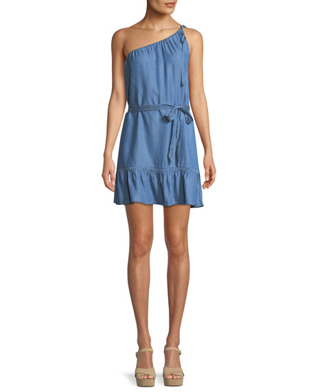 Lauretta One-Shoulder Belted Chambray Mini Dress