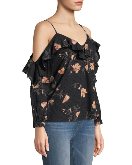 Arabeth V-Neck Cold-Shoulder Floral-Print Cotton Dobby Blouse
