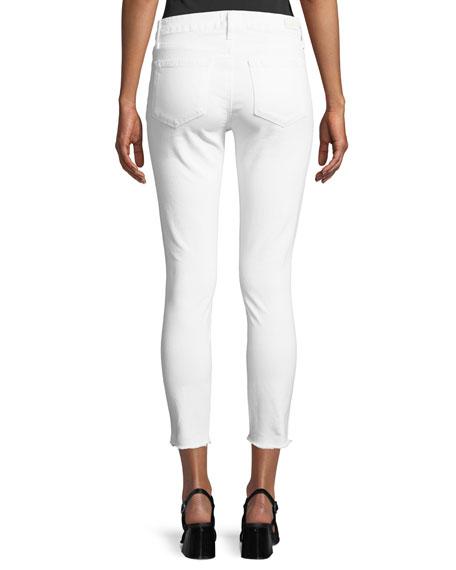 Verdugo Mid-Rise Skinny Jeans w/ Angled Zip & Raw Hem