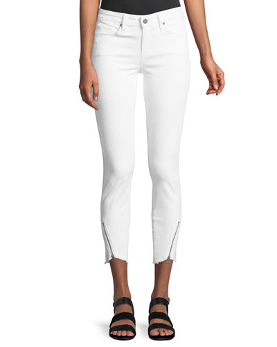 Verdugo Mid-Rise Skinny-Leg Jeans w/ Angled Zip & Raw Hem
