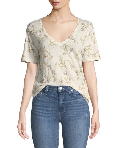 Arielle V-Neck Short-Sleeve Floral-Print Linen Tee