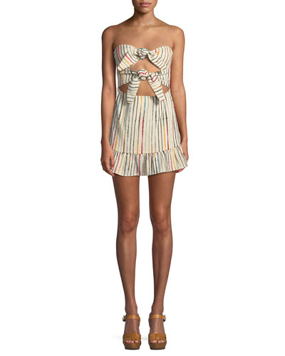 Anna Front-Tie Strapless Embroidered Dress