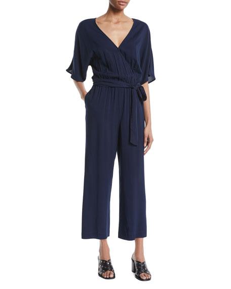 Vanette Wrap-Front Short-Sleeve Draped Ankle Jumpsuit